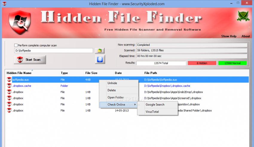 Hidden File Finder сканирование